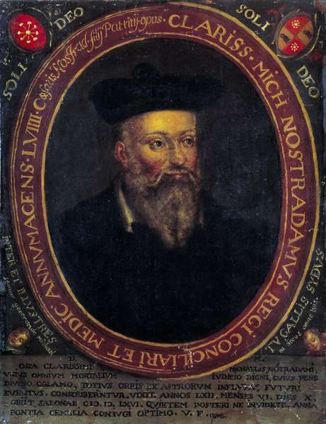 Portrait of Nostradamus, Michel de Notre Dame (1503 - 1566) French astrologer and doctor. Copper engraving, 16th century. Avignon, Musee Calvet - Portrait of Nostradamus (or Michel de Notre Dame or Michel de Nostredam-1503-1566), French physician and astrologer. Copper engraving, 16th century. Calvet Museum, Avignon, France