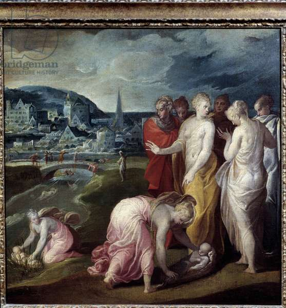 Moses saves waters Painting by Nicolo dell'Abate (1509/1516-1571). 16th century. Dim. 0,82x0,83 m.