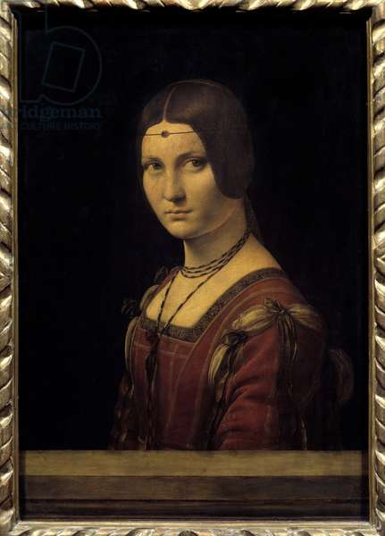 "Ritratto di dama. Portrait of a lady from the court of Milan, mistakenly said """" the beautiful ironwork"""""". Painting by Leonardo da Vinci (Leonardo da Vinci) (1452-1519) 15th century Sun. 0,63x0,45m. - Ritratto di dama. Portrait of a court lady of Milan, wrongly called ""La Belle Ferronniere"""". Painting by Leonardo da Vinci (Leonardo de Vinci) (1452-1519), 15th century. 0,63 x 0,45m. Louvre Museum, Paris"