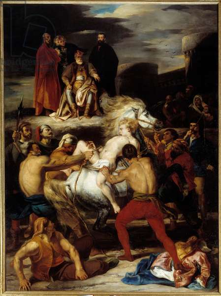 """Mazeppa's torment. Mazeppa is tied to a wild horse on the orders of Count Palatin, whom he insulted. Illustration for Lord Byron's poem """"Mazeppa"""""""". Painting by Louis Boulanger (1806-1867), 1827. Oil on canvas. Dim: 0.52 X 0.39m. Rouen, Museum of Fine Arts"""