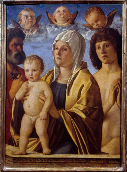 The Virgin and Child Jesus between St. Peter and St. Sebastian Painting by Giovanni Bellini dit il Giambellino (1430-1516) 16th century Sun. 0,82x0,58 m  - The Virgin and Child Jesus between St. Peter and St. Sebastian. Painting by Giovanni Bellini called Giambellino (1430-1516), 16th century. 0.82 x 0.58 m. Louvre Museum, Paris