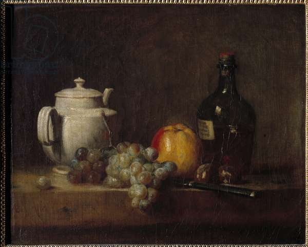 La teiere blanche avec raisins Painting by Jean Baptiste Simeon Chardin (1699-1779) 18th century
