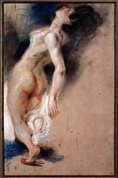 """Study of a naked woman overturned back; study of a slave slave for """"The Death of Sardanapale"""""""", 1826-1827. Drawing by Eugene Delacroix (1798-1863), 1827-1828 on gray paper, pastel, sanguine. Musse du Louvre."""