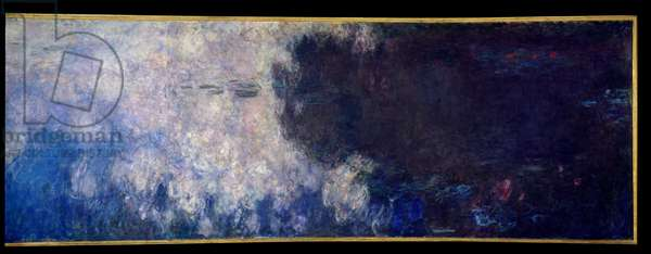 The nympheas; the clouds. Right part of the triptych painted in Giverny. Painting by Claude Monet (1840-1926), 1914-1926. Oil on wood. Dim: 2 x 4,25m. Paris, Musee De l'Orangerie.