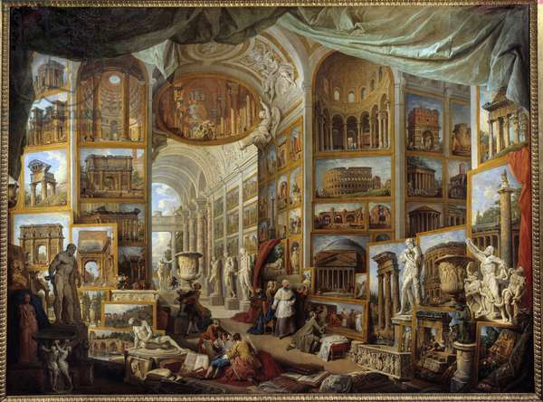 Gallery of a collector. Gallery of views of Ancient Rome. painting by Giovanni Paolo Pannini (Panini) (1691-1765), 18th century, 2,31 x 3,03 m. Musee du Louvre. - Gallery of a collector. Gallery of Ancient Rome's views. Painting by Giovanni Paolo Pannini (Panini) (1691-1765) 18th century, 2.31 x 3.03 m. Louvre Museum, Paris