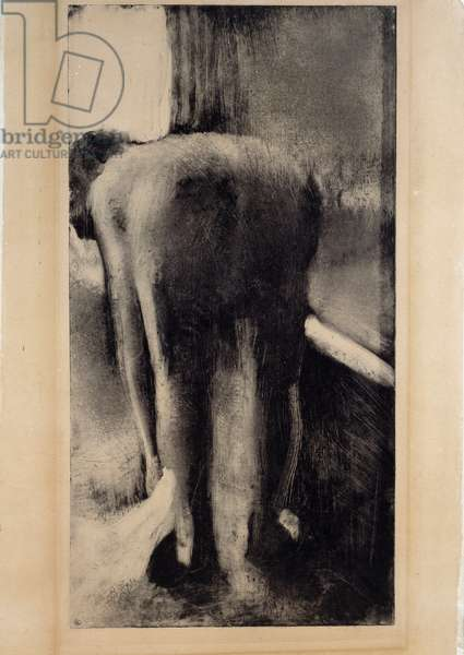 Naked woman ssuyating her feet near her bathtub Monotype in black ink by Edgar Degas (1834-1917) 1879-1883 Sun. 0,45 x 0,23 m Paris. Louvre Museum