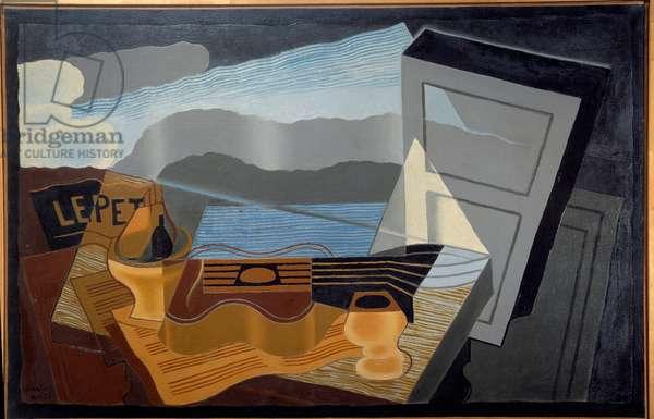 The view of the bay. Painting by Juan Gris (1887-1927) Ec. Esp., 1921. Oil on canvas. Dim: 0,65 X 1,00m. Paris, Musee Municipal d'Art Moderne - The view across the Bay. Painting by Juan Gris (1887-1927) Spanish School, 1921. Oil on canvas. 0.65 X 1.00 m. Modern Art Museum, Paris