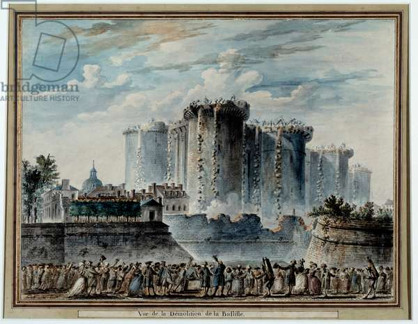 Demolition of the fortress of the Bastille by the entrepreneur Pierre-Francois (Pierre Francois) Palloy (1755-1835), known as the Patriote, in 1789, illustration by Jean Pierre Houel (1735-1813) has the pen and gouache Dim. 37x49 Paris, Musee Carnavalet