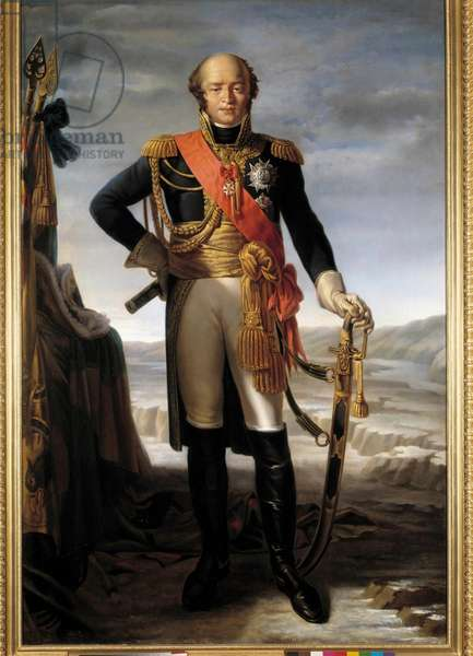Portrait in foot of Louis Nicolas (Louis-Nicolas) d'Avout, dit Davout (1770-1823), Duke of Auerstaedt and Prince of Eckmuhl, marechal of Empire Painting by Tito Marzocchi De Bellucci (1800-1871), 1852 - Sun 2,1x1,4 m -  - Full-length portrait of Louis Nicolas (Louis Nicolas (Louis Nicolas)) of Avout said Davout (1770-1823), Duke of Auerstaedt and Prince of Eckmuhl, Marshal of the Empire. Painting by Tito Marzocchi De Bellucci (1800-1871), 1852 - 2.1 x 1, 4 m -