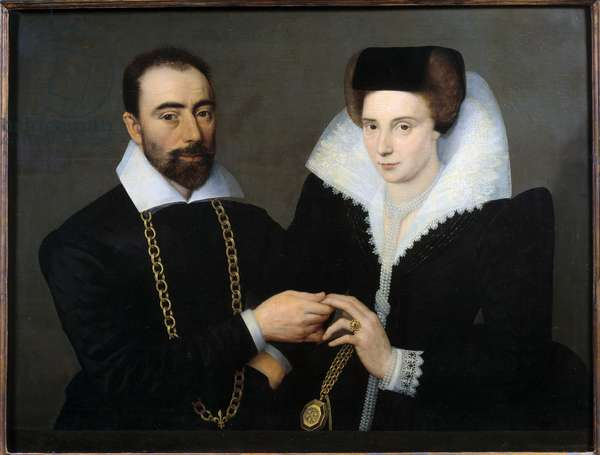 Portrait of a couple (or double portrait). Anonymous painting of the French school, 17th century (1675-1700). Oil on wood. Dim: 0.73 x 0.96m.