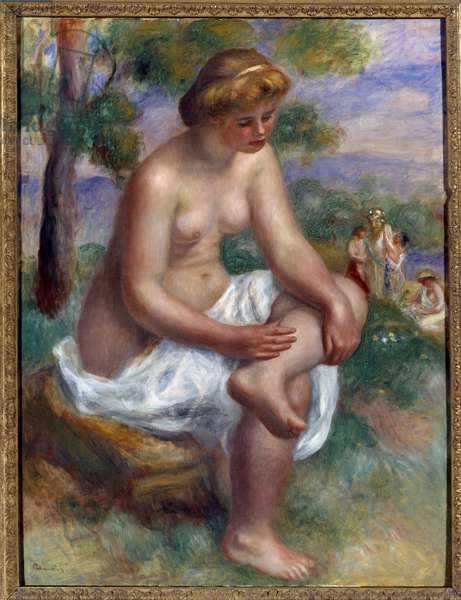Bather sitting in a landscape called Eurydice Painting by Pierre Auguste Renoir (1841-1919) 1895-1900 Sun. 1,16 x 0,89 m Paris, Musee Picasso