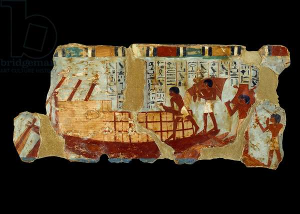 Ancient Egyptian Art: loading grains on a boat painting on silt from the tomb of Ounou (1450 BC).