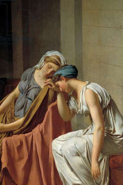 The Horaces Detail oath representing women collapsed in pain. Painting by Jacques Louis David (1748-1825) 1784 Sun. 0,26x0,37 m