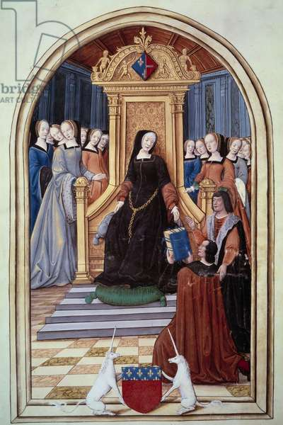 The regente of France Louise de Savoie (1476-1531) received the book of two echevins from the city of Amiens. In the foreground the weapons of Amiens. Royal paintings and songs of the Puy Jam Notre Dame d'Amiens. Manuscript donated to Louise de Savoie in 1517. Miniature colored by Jean Pichon. Paris, B.N.