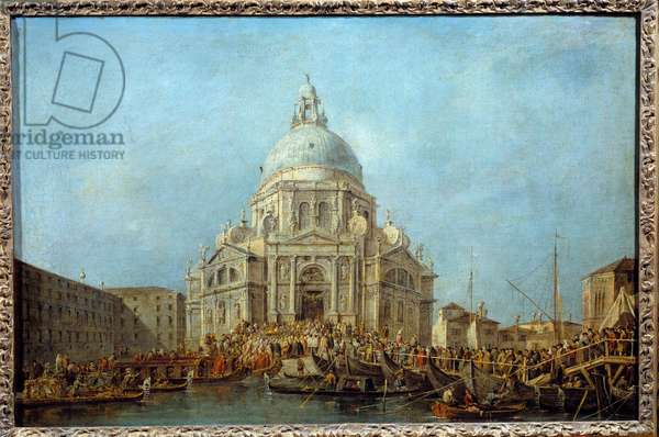 The Doge of Venice goes to the Church of Santa Maria della Salute on November 21, the day of the commemoration of the end of the plague of 1630. This is probably the Doge Alviso IV Mocenigo (1763-1778). Painting by Francesco Guardi (1712-1793) 1775-1780 Sun. 0,67x1 m  - Procession in front of Santa Maria della Salute. Doge of Venice going to the Church of Santa Maria della Salute on November 21, commemoration day of the end of the plague, 1630. Probably, the Doge Alvise IV Mocenigo (1763-1778). Painting by Francesco Guardi (1712-1793), 1775-1780. 0.67 x 1m. Louvre Museum, Paris