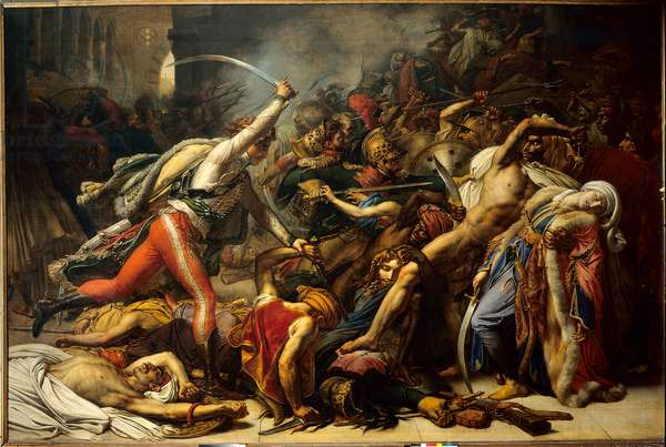 The revolt of Cairo, October 21, 1798: Revolt of the people of Cairo against the French occupation. Painting by Anne Louis Girodet de Roucy-Trioson (Anne-Louis Girodet de Roucy Trioson, 1767-1824), 1810. Oil on canvas, Dim: 3,65 x 5m. Versailles, Musee Du Chateau.