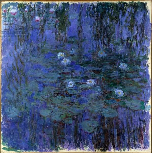 Nympheas bleu Painting by Claude Monet (1840-1926) 1916 Sun. 2x2 m Paris, Musee d'Orsay