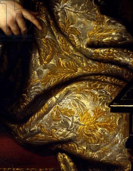 Portrait of Jean Baptiste (Jean-Baptiste) Colbert (1651-1690) seigneur Marquis de Seignelay, minister of marine, son of Colbert Detail of draperies. Painting by Marc Nattier (1642-1705), 1676. Oil on canvas. Dim: 1,13 x 1,08m. Versailles, Musee Du Chateau