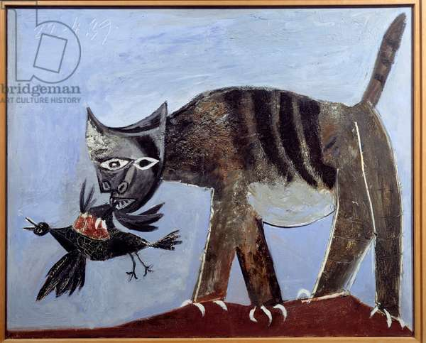 Cat grabbing a bird Painting by Pablo Picasso (1881-1973) 1939 Sun. 0,81x1 m Paris, Musee Picasso