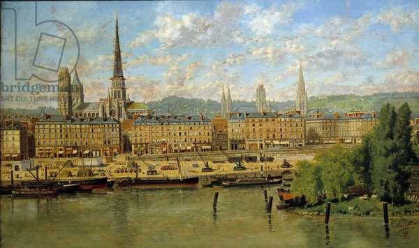 Le port de Rouen Painting by Torello Ancillotti (1843-1899) 1878 Sun. 0,36x0,62 m Rouen, musee des Beaux Arts - The Port of Rouen. Painting by Torello Ancillotti (1843-1899), 1878. 0.36 x 0.62 m. Beaux-Arts Museum, Rouen, France