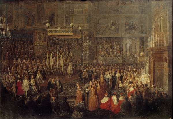Sacre of Louis XV (1710-1774) in the Cathedrale of Reims on 25/10/1722 Painting by Jean Baptiste Martin (1659-1735) 1735 Sun. 0,32x0,42 m Versailles, musee du chateau
