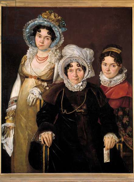 """Portrait of Madame de Tangry and her daughters (Portraits of Isabelle Rose van Tieghem, wife of Anselme Morel de Tangry, Echevin of Kortrijk and two of her daughters). Painting of the French school of the 19th century, made after 1816. Painting originally called """"The Three Ladies of Ghent"""" and attributed to Jacques Louis David (Jacques-Louis David, 1748-1825). Sun: 132x105cm Musee du Louvre - Portrait of Madame de Tangry and her daughters (Portraits of Isabelle Rose van Tieghem, wife of Anselm Morel Tangry, Kortrijk's alderman and two of her daughters). French School's. Painting of the 19th century, painted after 1816 and originally called """""""" The three ladies of Ghent"""""""", attributed to Jacques Louis David (Jacques-Louis David, 1748-1825). 132x105cm. Louvre Museum, Paris"""