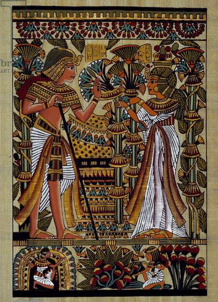 Egyptian antiquitis: offering to the pharaoh. Papyrus, New Empire, 18th Dynasty. Private Collection