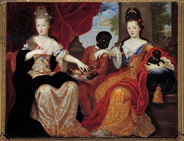 """Portraits of Mademoiselle de Blois and Mademoiselle de Nantes served by their black servant"""""""""""". Mademoiselle de Blois (1677-1749), future wife of Louis de Bourbon, Mademoiselle de Nantes (1673-1743), future Duchess of Orleans. Painting by Claude Francois Vignon (1633-1703) Sun. 1,17x0,92 m"""