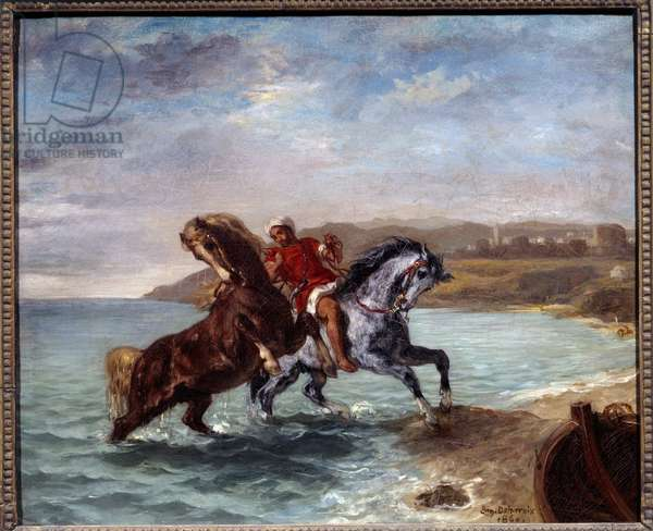 Horses coming out of the sea. Painting by Eugene Delacroix (1798-1863), 1860. Oil on canvas. Dim: 0.50 x 0.61m. Washington, Phillips Collection
