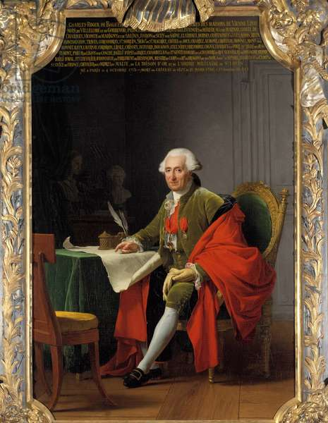 Portrait en pied de Charles Roger, Prince de Bauffremont (1713-1795) Painting by Adelaide Labille Guiard (1749-1803) 1791 Sun. 2,24 x 1,47 m. versailles, musee du Chateau