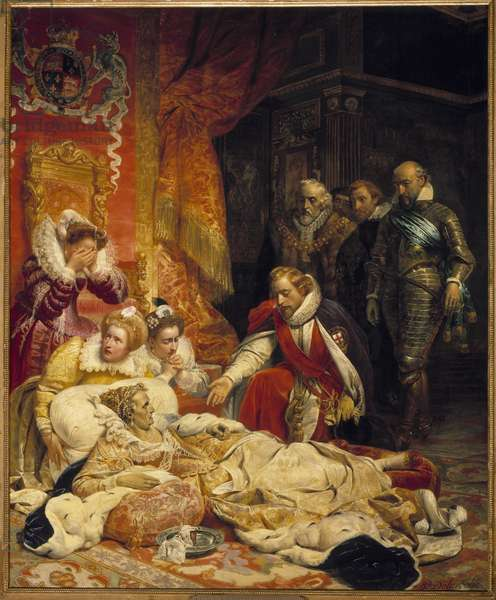 The death of Elizabeth Iere, Queen of England in 1603 Queen Elizabeth died of depression and illness on 24/03/1603, surrounded by her courtiers. Painting by Paul Delaroche (1797-1856) 1828 Sun. 4,22x3,43 m  - The death of Elizabeth I, Queen of England, in 1603. Queen Elizabeth died of depression and disease on 24 March 1603 surrounded by his brokers. Painting by Paul Delaroche (1797-1856), 1828. 4.22 x 3.43 m. Louvre Museum, Paris