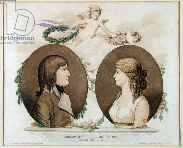 "Portraits of Napoleon Bonaparte (1769-1821) and Josephine de Beauharnais (1763-1814) married in 1796"""" Anonymous watercolour around 1800. Sun 0,21x0,23 m Malmaison, musee du chateau"