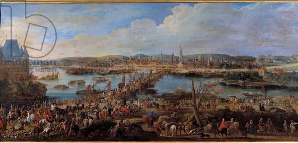 View of the city of Rouen taken from Saint Sever Painting by Pierre Denis Martin (1663-1742) 18th century Sun. 0,78x1,98 m Rouen musee des Beaux Arts