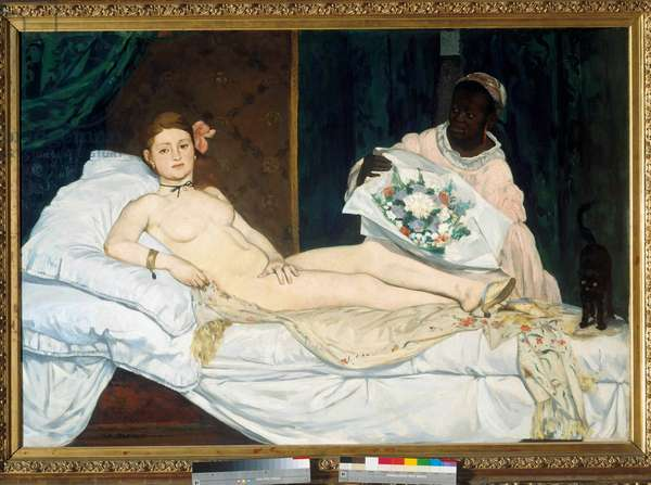 Olympia Young woman naked on a bed with her black maid bringing her a bouquet of flowers. Painting by Edouard Manet (1832-1883) 1863 Sun. 1,3x1,9 m Paris, musee d'Orsay