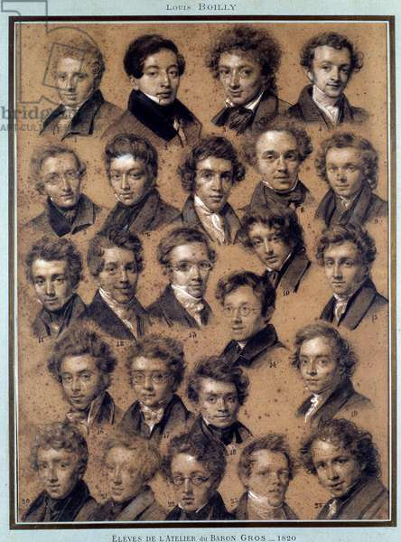 Portrait of the students of the studio of the painter Antoine Jean Gros (1771-1835) Drawing by Louis Leopold Boilly (1761-1845) 1820 Paris, B.N.
