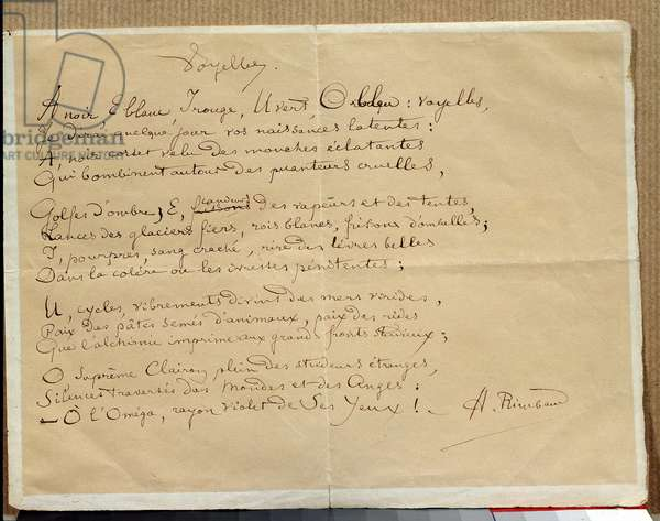 "Manuscript of Arthur Rimbaud's poem: ""The Vowels"""", 19th century. Charleville, Musee Rimbaud."