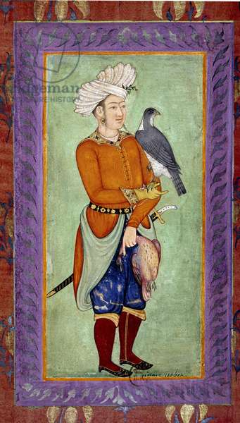 Indian art: representation of a Uzbek prince holding a hawk for hunting, in the other hand a dead prey. Watercolour from the Moghole period from a manuscript, 17th century. Paris, B.N.