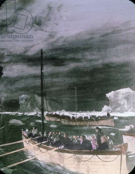The maiden voyage of the Titanic - The sinking of the Titanic - lifeboats with survivors of the Titanic disaster, illustration. 15. April 1912. Carl Simon Archive
