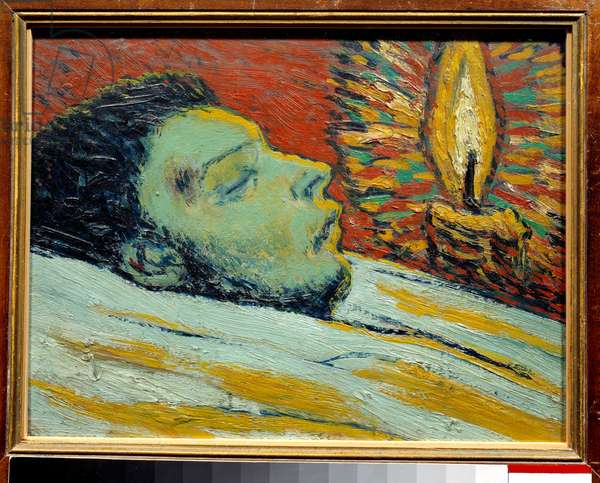 The death of casagemas. oil on wood. Dim: 0,27 x 0,35m. Painting by Pablo Picasso (1881-1973), 1906. Paris, Musee Picasso.