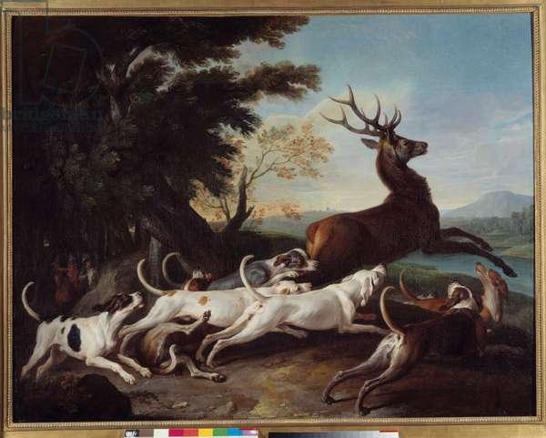 """Hunting: """""""" Debuche du deer"""""""" Painting by Francois Desportes (1661-1743) 1718 Sun. 1,1x1,45 m Rouen, Musee des Beaux Arts"""