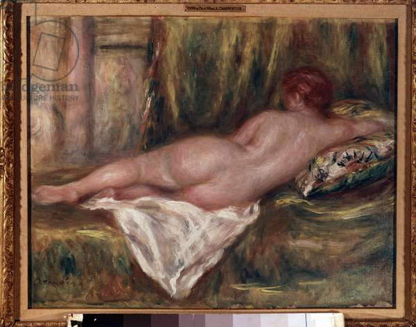Naked layer seen from back or rest after bath Painting by Pierre Auguste Renoir (1841-1919) 1909 Sun. 0,41x0,52 m Paris, Musee d'Orsay.