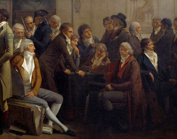 Artists meeting in the workshop of the painter Jean Baptiste Isabey (1767-1855): Anne Louis Girodet de Roucy-Trioson (Anne-Louis Girodet de Roucy Trioson, 1767-1824) sitting looking at the viewer on the right, the architects Percier and Fontaine discuss standing on the left - The singer Francois-Joseph (Francois Joseph) Talma (1763-1826) sits at the table - Detail - Painting by Louis Leopold Boilly (1761-1845), 1799 - Sun 0,71x1,11 m Paris, Musee du Louvre