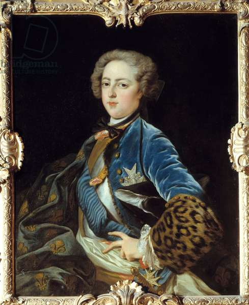 Portrait of Louis XV (1710-1774), King of France. Painting by Jean Baptiste Van Loo (1684 - 1745), 1723. Oil on canvas. Dim: 1.02 x 0.82m. Blois, Musee Communal Du Chateau