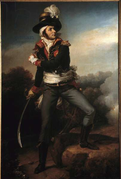 Portrait en pied de Francois Athanase (Francois-Athanase) Charette de la Contrie (1763-1796) general en chief des armys vendeennes He was one of the leaders of the counter-evolutionary movement which was repressed by the Convention and the Republican Armee - Painting by Pierre Narcisse (Pierre-Narcisse) Guerin (1774-1816) 1819 Dim 2,1819 X 1,40 m - Cholet, Museum of Art and History