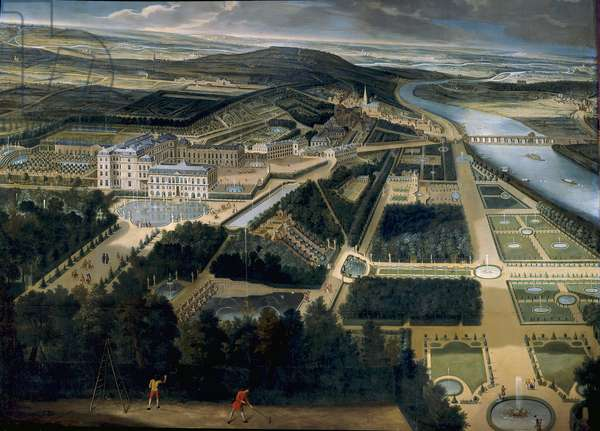 General view of the castle and gardens of Saint Cloud (Saint-Cloud) Painting by Etienne Allegrain (1644-1736) 1675 Sun. 3, x3,83 m Versailles, musee du chateau - View of the castle and garden of Saint Cloud (France) - Paiting by Etienne Allegrain (1644-1736), oil on canvas (300 x 383 cm), 1675 - Musee du chateau de Versailles, France