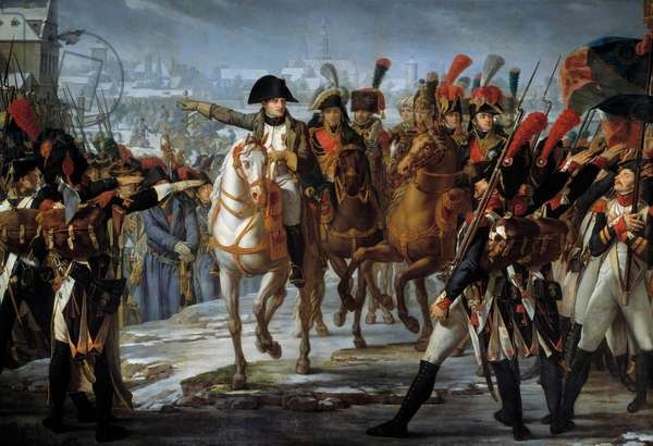Emperor Napoleon I (1769-1821) haranged the 2nd Corps of the Great Armee on the bridge of Lech before the attack of Augsburg 12/10/1805 Painting by Claude Gautherot (1769-1825) 1808 Sun. 3,85x6,2 m
