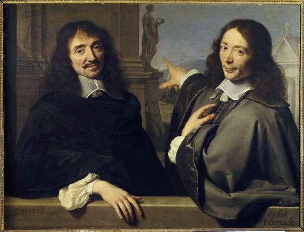 Portrait of two men: Francois Mansart (1598-1666) and Claude Perrault (1613-1688), (both French architects). Painting attributed to Philippe de Champaigne (1602-1674). 1656. Dim. 0,88x1,17 m. Paris. Louvre Museum