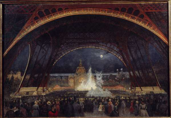 Night party at the 1889 Universal Exhibition under the Eiffel Tower Painting by Georges Roux (19th century) 1889 Sun. 0,95x0,65 m Paris, Musee Carnavalet