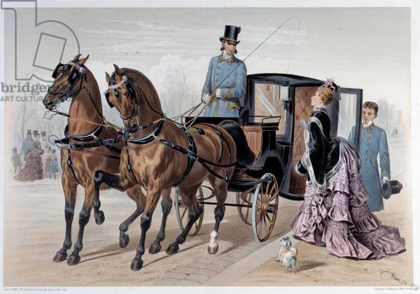 Coupe reached of English horses Print by Albert Adam (1833-?) 1874 Paris, Musee Carnavalet