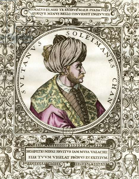 Portrait of Soliman the Magnificent (1494 - 1566) Sultan Ottoman. Engraving of the 16th century. Private collection.